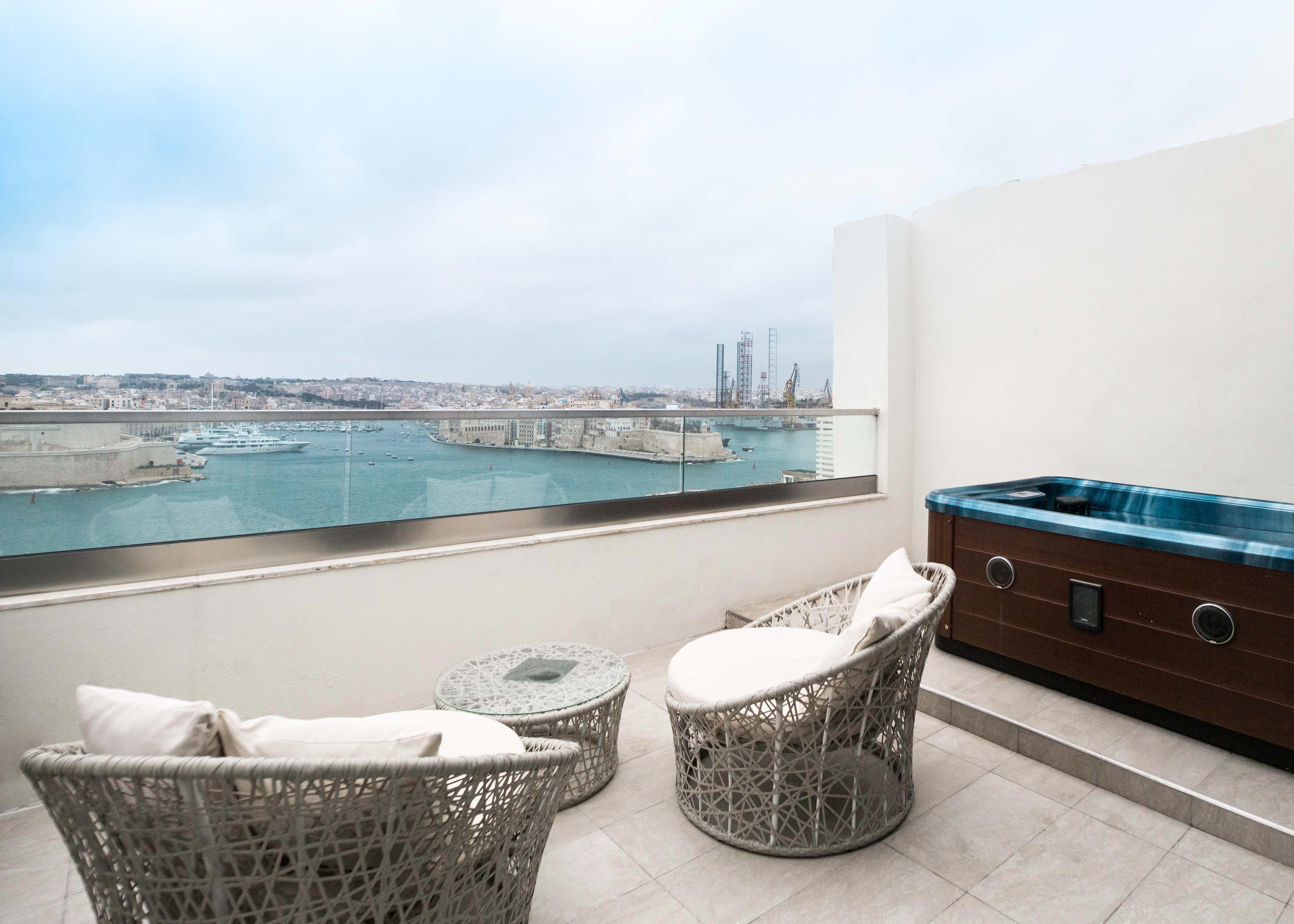 Room with terrace and great view, best hotel to stay in Malta