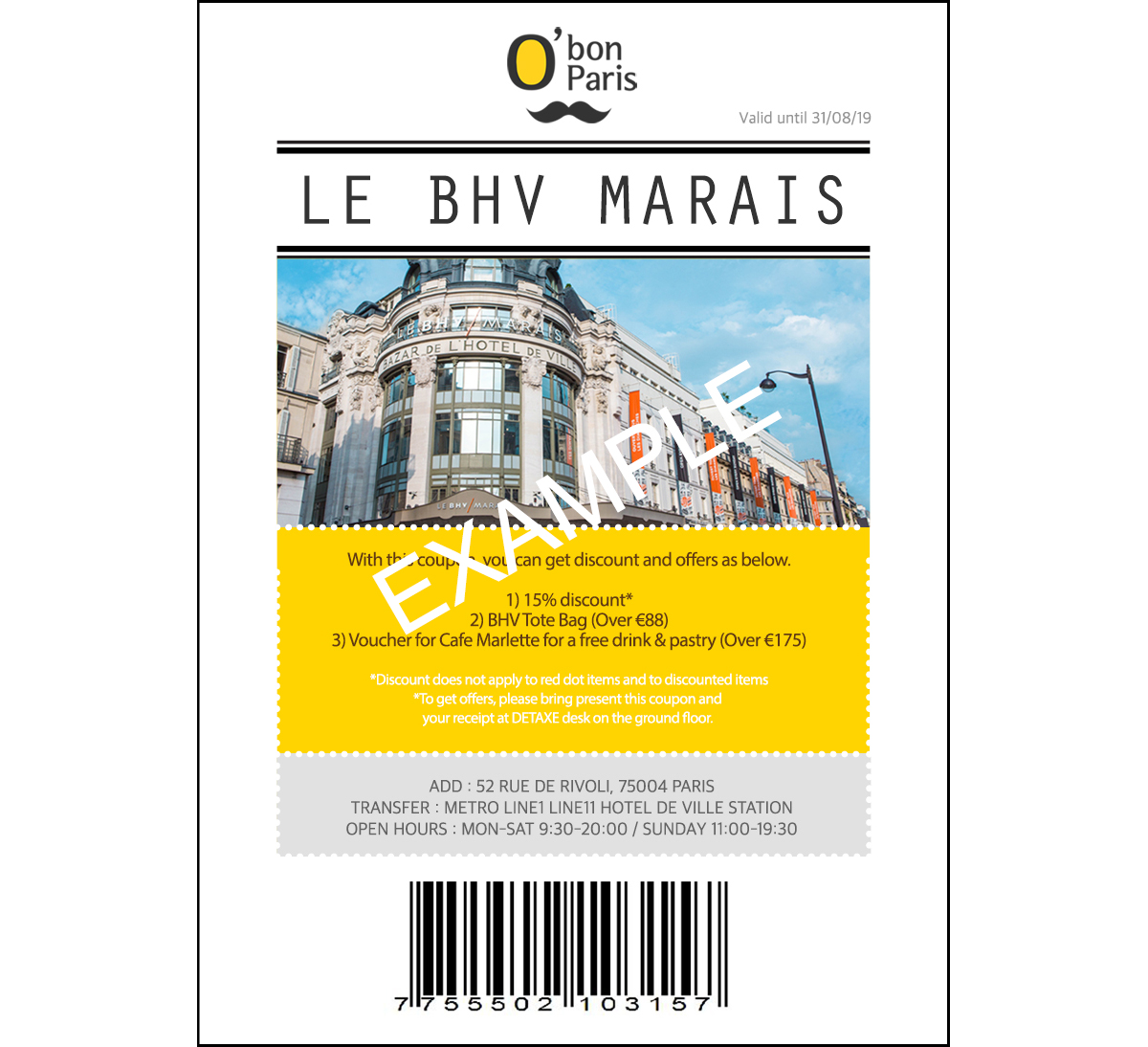 BHV MARAIS OFFER